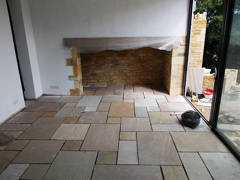 Flagstone floor and open fire place at Bourton-on-the-Hill project