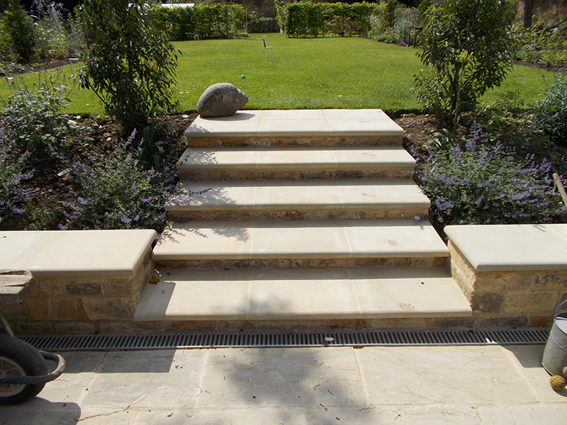 New garden steps in Cotswold garden