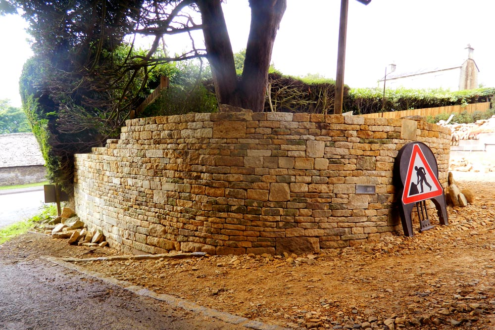 Cotswold stone wall and new entrance