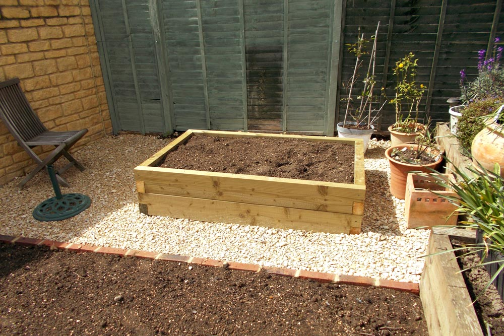 Raised garden bed at garden in Moreton in Marsh