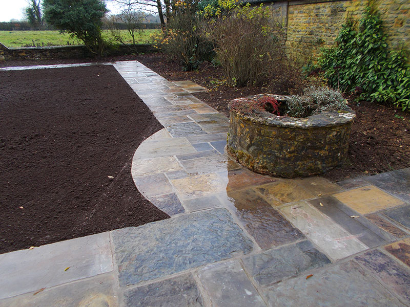 Reclaimed York Paving curved pathway by Dan Groves Contracting
